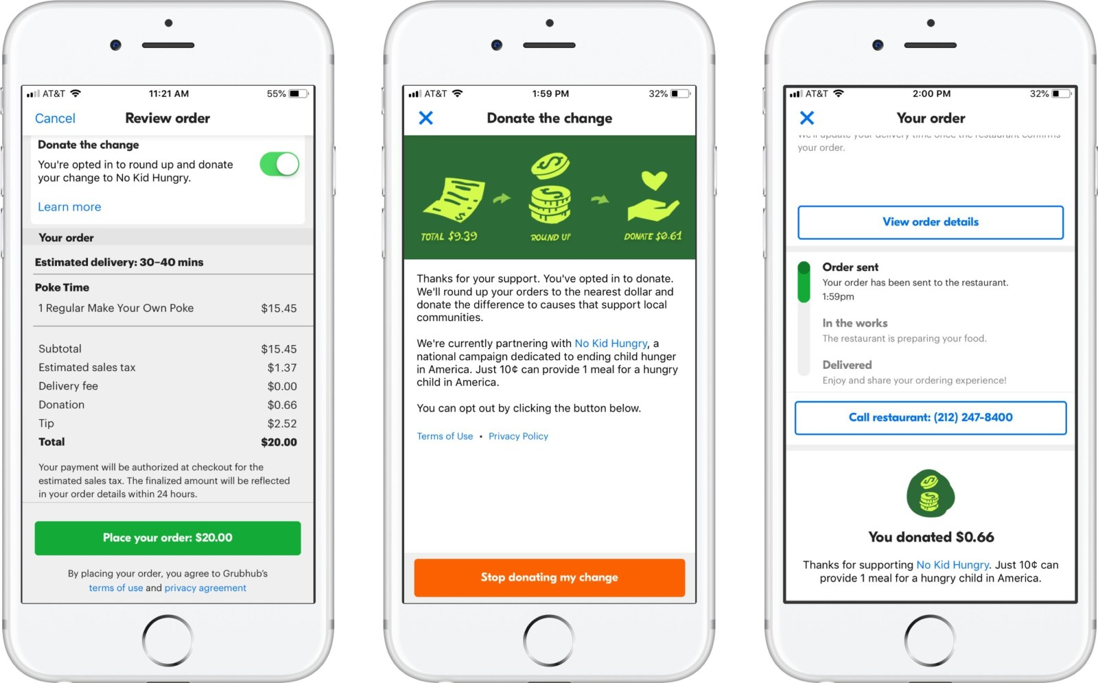 Grubhub wants you to donate the change to No Kid Hungry